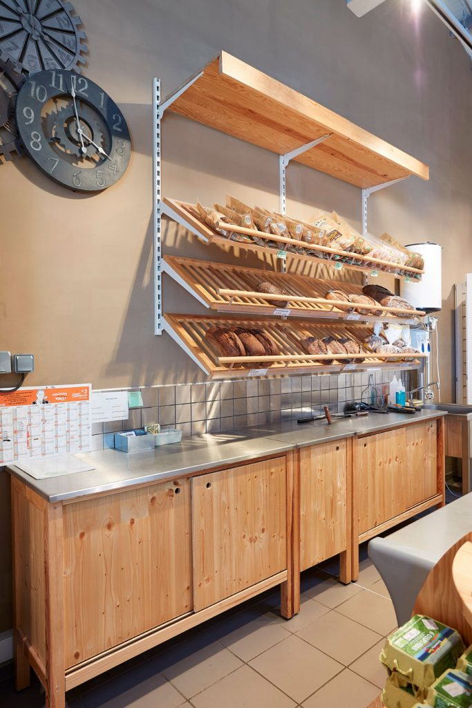 meuble bois présentoir boulangerie