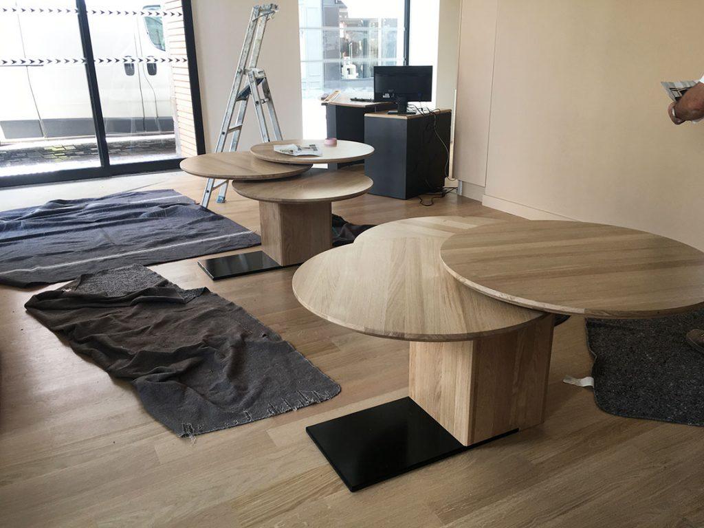 table circulaire en bois