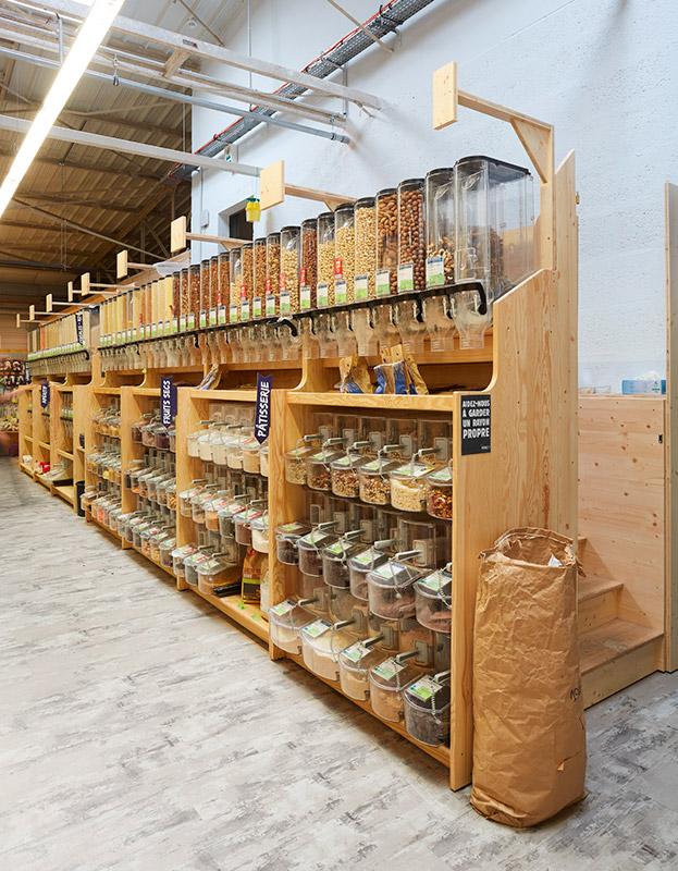 Meuble distributeur vrac céréales en bois